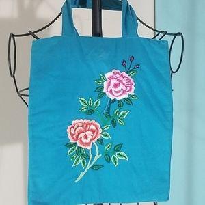 Blue cloth handbag